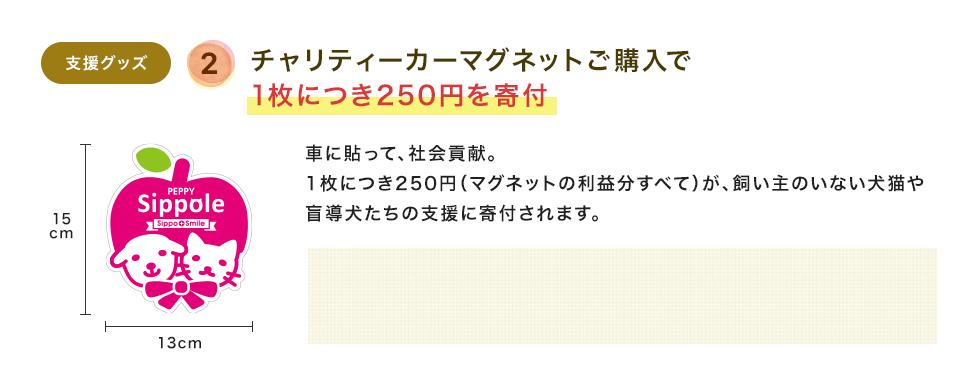 チャリティーカーマグネットご購入で1枚につき250円を寄付