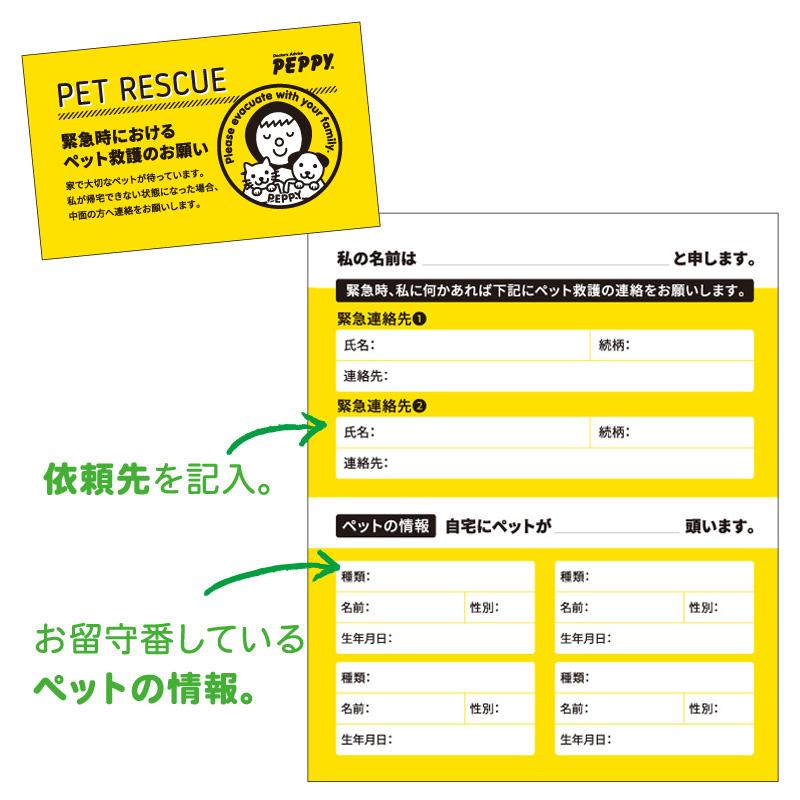 自宅に居るペットの救護医依頼先をお知らせできるペット救護依頼カード