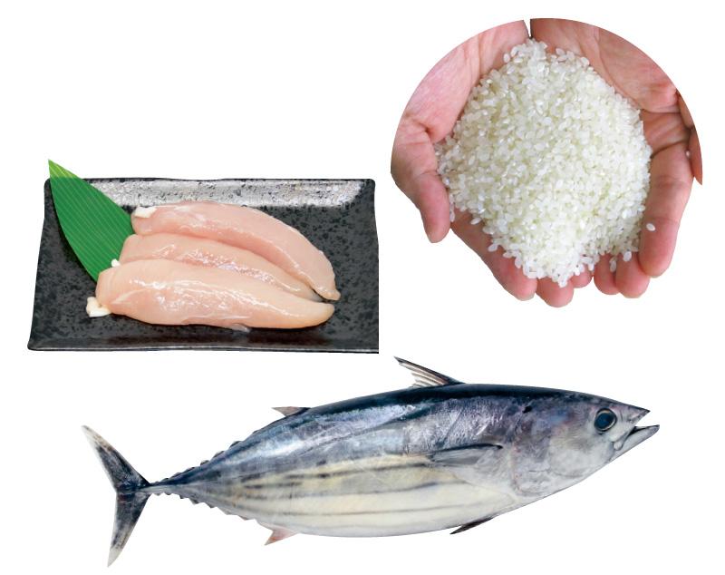 国産素材+無添加おやつ。ささみやまぐろにお米とおなかや関節にやさしい成分をプラス!
