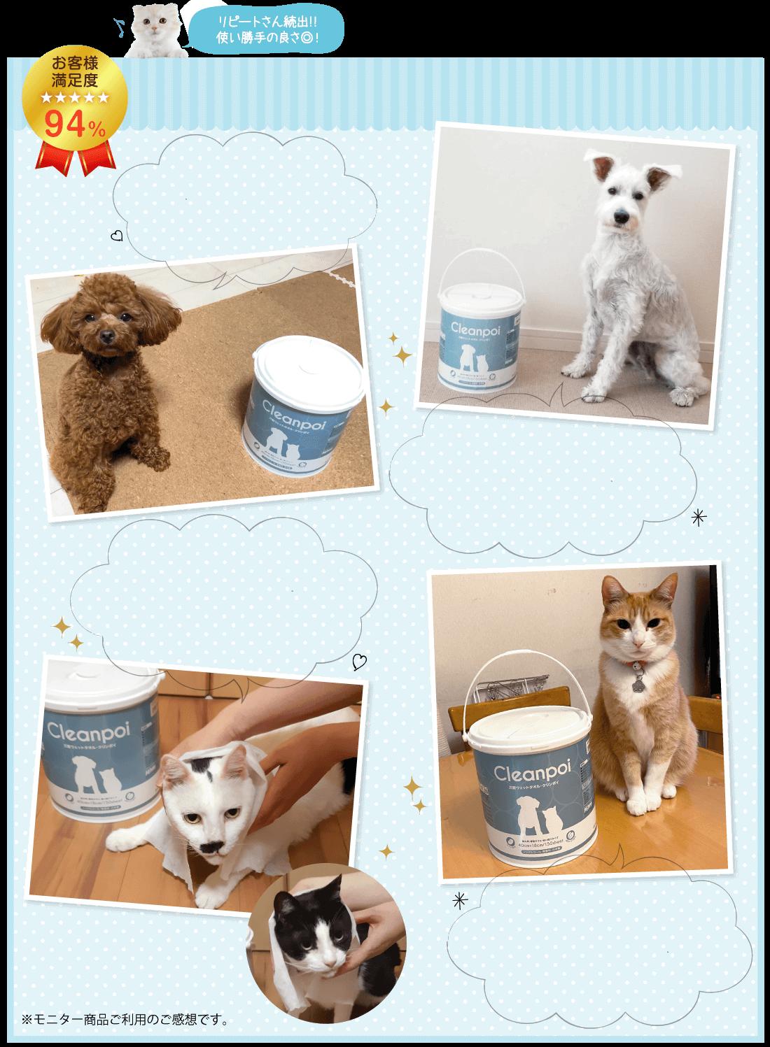 愛犬愛猫の体に優しい安心成分の大判ウェットタオルクリンポイ