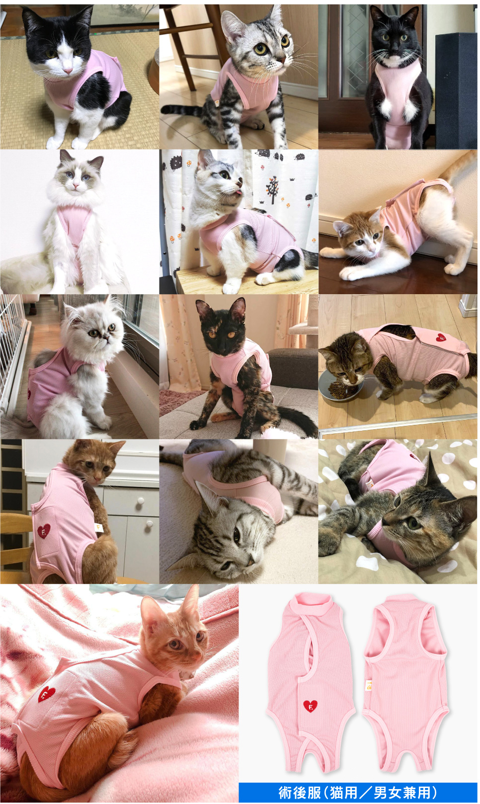 ハート刺繍猫用術後服エリザベスウエア